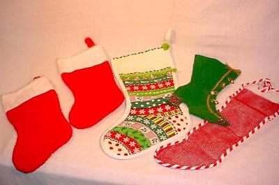 LOT OF VINTAGE CHRISTMAS STOCKINGS PLUSH QUILTED FELT MESH