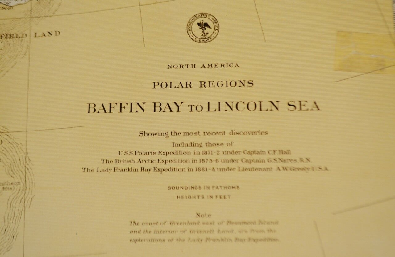Authentic Antique 1885 Nautical Chart North American Polar Regions Baffin Bay