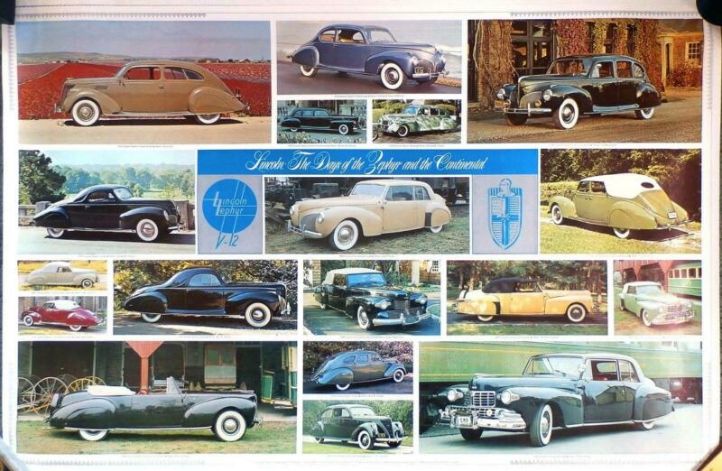 CLASSIC LINCOLN POSTERS (2) Continental Zephyr L KA KB—Automobile Quarterly 1978
