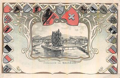 Switzerland Geneve Monument (GENEVE NATIONAL MONUMENT SWITZERLAND COAT OF ARMS EMBOSSED POSTCARD (c. 1900))