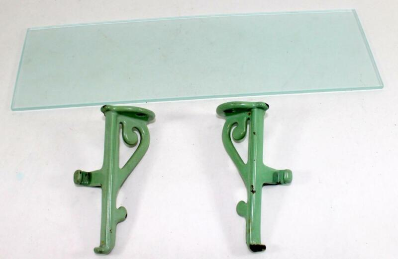 "Antique Victorian Bathroom Porcelain Brackets & Frosted Glass Shelf ~ 17"" x 5"""