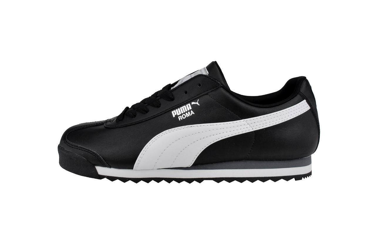 PUMA Roma Basic Shoes Synthetic Black White Classic Men Sneakers 353572-11