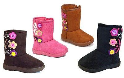 Girls Flower Boots (New Kids Boots Toddler Girls 3 flower button Faux Fur Suede Knitting)