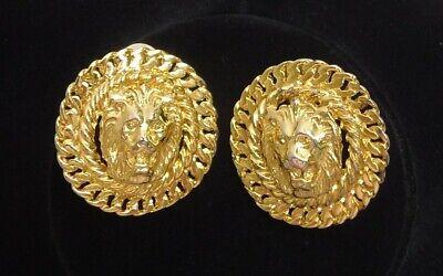 Vintage  ANNE KLEIN Goldtone 3D LION HEAD Round Shape Clip-On Earrings Marked AK