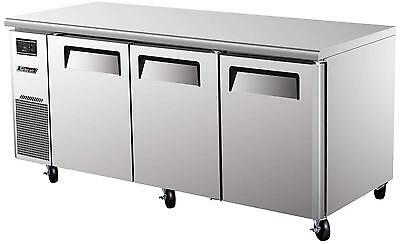 Turbo Air Side Mount Undercounter Refrigerator With 3 Swing Doors Jur-72