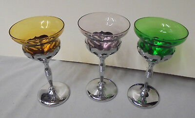 Chrome Stemware - Morgantown, Chrome & Glass Stemware, Purple, Amber, Green 6