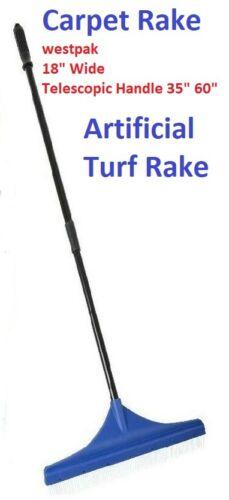 Westpak Carpet, Artificial Turf Rake 18 Wide Telescopic Handle 35 to 60in