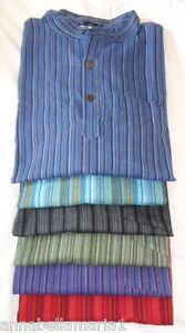 Gringo-FAIR-trade-STRIPED-nepalese-COTTON-grandad-SHIRT-XL-XXL-lots-of-colours