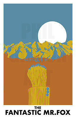 Original Fantastic Mr  Fox Art Print Wes Anderson Life Aquatic Blu Movie Poster