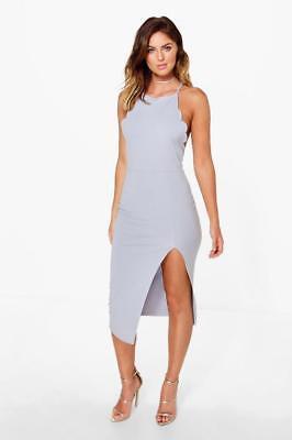 Boohoo Hazel Scallop Detail Midi Dress Lilac Size UK 10 rrp £20 DH079 OO 12