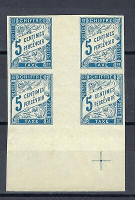 France 1894 French Colonies Sc J15 Imperf Postage Due Gutter Block 4 MLH - $6.99