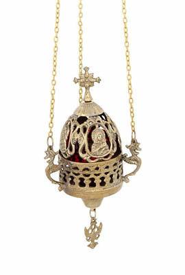 Hanging 3 Chain Engraved Vigil Lamp with Holy Theotokos Orthodox Church Kandili