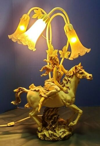 """Carved Alabaster Woman Riding a Horse 3 Lily Light Table Lamp 25"""""""
