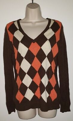 (Minnie Rose 100% Cashmere brown orange argyle sweater V-Neck Medium)