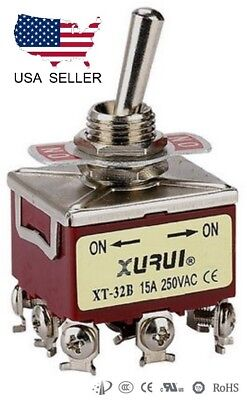 Heavy Duty 3pdt On-on Toggle Switch 20a 125v 15a 250v Screw Terminals 32b