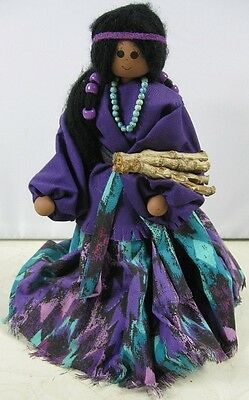 "Vintage 10"" Tall Wood Indian Madden Doll"