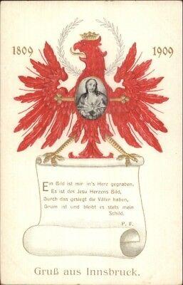 Gruss Aus Innsbruck Austria 18-1909 Red Bird & Jesus c1910 Postcard