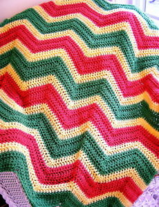 CHEVRON-crochet-handmade-baby-blanket-afghan-shawl-yellow-green-orange-VANNA