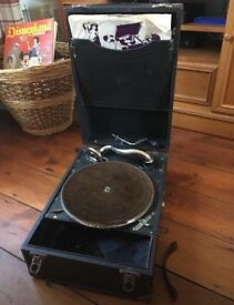 Vintage portable gramophone / record player - working