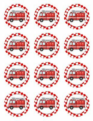 Fire Truck Cupcakes (12 FIRE TRUCK Edible Icing Image Birthday Cupcake Decoration Cake)
