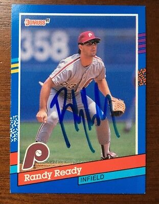 - RANDY READY 1991 DONRUSS AUTOGRAPHED SIGNED AUTO BASEBALL CARD 148 PHILLIES