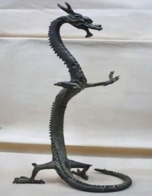 Height 17 inch / exquisite bronze Chinese dragon statue Figures tall