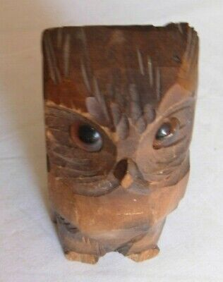 Wooden owl treen desk tidy / container for pencils or spills  5