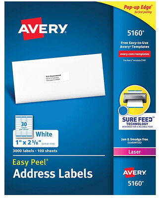 Avery 516059608160 Address Labels 30 Labelssheet 9001500 Labels