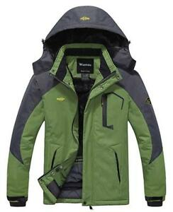NEW Wantdo Men's Mountain Waterproof Fleece Ski Jacket Windproof Rain Jacket Condtion: New, X-Large, Grass Green