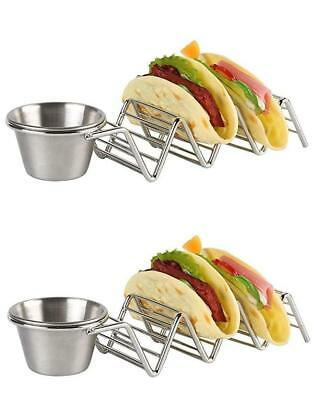 2 pack Taco Holder with Salsa Guacamole Cup Premium Stainless Steel  (Taco Holders)