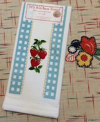Retro Vintage Style Kitchen Flour Sack Towel '50's Style w/ 'Country Strawberry'