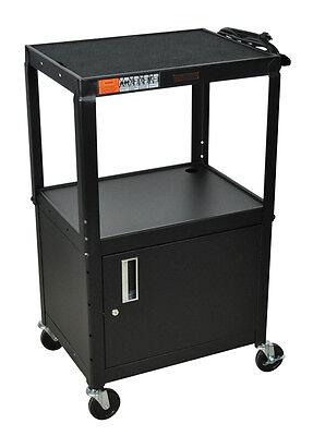 Luxor W42ACE H Wilson Adjustable Height Cabinet AV Cart With 3 Shelves Black New