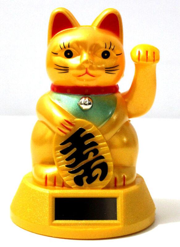 """GOLD Solar Powered FENG SHUI Gold Lucky Beckoning Waving Cat Maneki Neko 5""""tall"""
