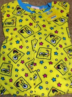 Nickelodeon SpongeBob Squarepants Footed Pajamas Yellow Stars 1 PC L NWT LASTONE - Spongebob Squarepants Pajamas