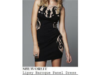 Lispy Baroque Panel Black & Nude Dress Size 12 RRP £98