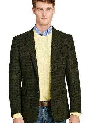 Polo Ralph Lauren Connery Houndstooth Sport Coat Blazer Wool 40R $995 Olive