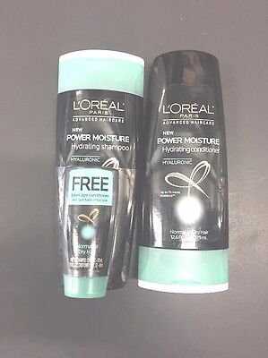 2 L'oreal Power Moisture Hydrating Shampoo & Conditioner-Normal-Dry Hair. 12.6oz