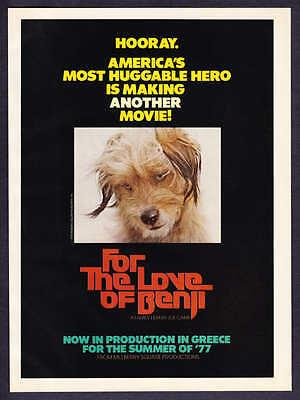 "1977 ""For The Love of Benji"" Movie Promo print ad"