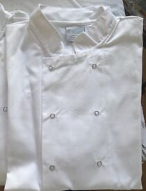 Chef's whites, 3 tops, 2 trousers and 3 hats