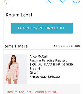 New.  Alice McCall playsuit. Original price $360. Size 6&8 Bellevue Hill Eastern Suburbs Preview