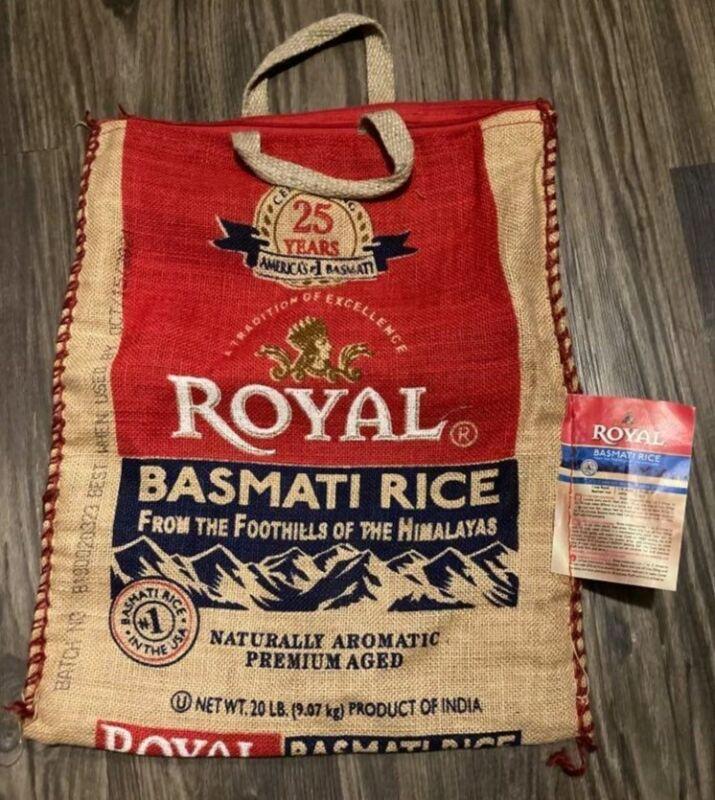 Empty 20 Lb Royal Basmati Rice Burlap Bag with Zipper and Handles / Bag only
