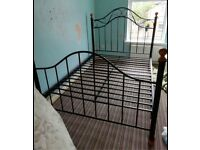 Quality Sturdy Black Vintage Cast Iron Brass Style Metal Wood Standard Double Bed Frame Teenager