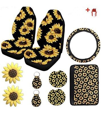 10pc Sunflower Car Truck Seat Cover Protector Accessories Wheel Cover, Coasters