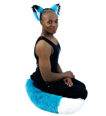 4007 Costume plush Teal Blue Black PAWSTAR Furry Fox Ears /& Tail Set TU//BK