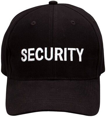 Black Security Cap Adjustable Embroidered Uniform Hat Guard Officer Agent