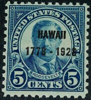 US 1928 #648 - 5c Teddy Roosevelt Hawaii Overprint Issue OG Mint MNH F-VF