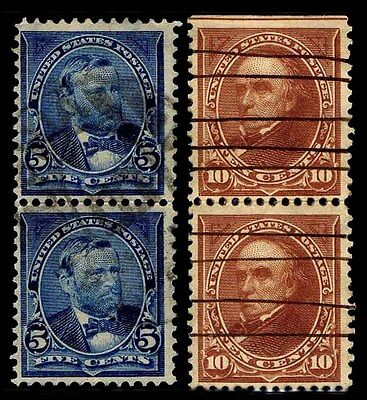 US#281 & 284c Used Bureau Issue Stacked Pairs of 1898 - VF - $20.00  (ESP#0402)