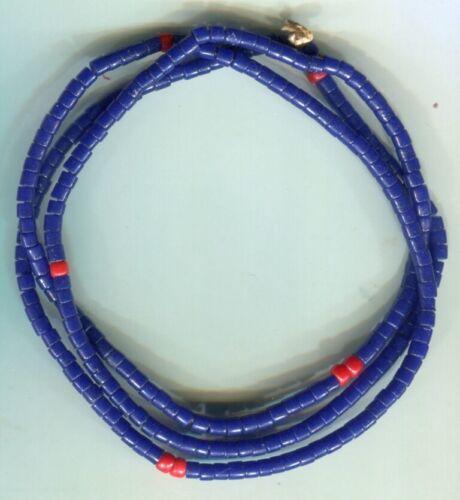 African Trade beads Vintage Bohemian Czech glass old cobalt blue tile beads