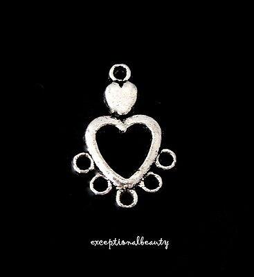 10 Tibetan Antiqued Silver Open Heart Chandelier Bead Earring Findings Charms