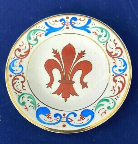 Vintage Ceramic Butter Pat Made in Italy Fleur de lis